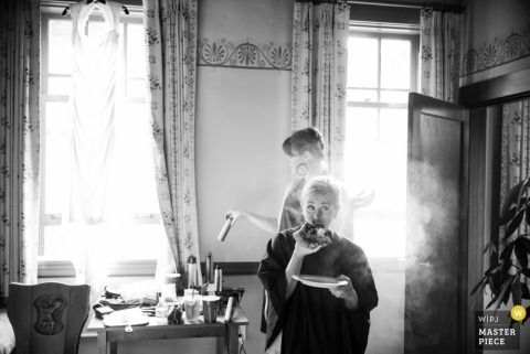 Oregon Wedding Photography | Image contains: getting ready, hairspray, window, bride, black, white, food