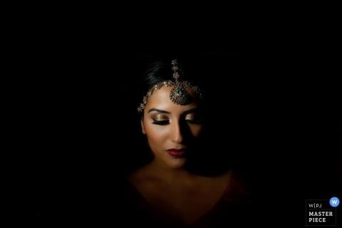 Essex Wedding Photography | Image contains: portrait, color, dark, bride