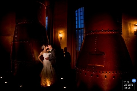 Wedding Photographer in Pennsylvania | Image contains: bride, groom, red, portrait, color