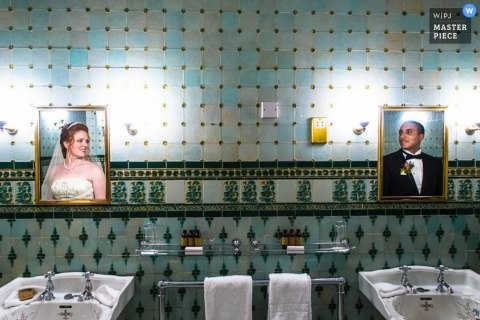 Wedding photograph from Dublin | Image contains: portrait, color, restroom, mirror, couple, reflection, sinks