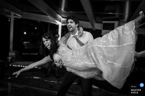 Lisbon Wedding Photographer | Image contains: black and white, reception, dance, bride, groom, lift