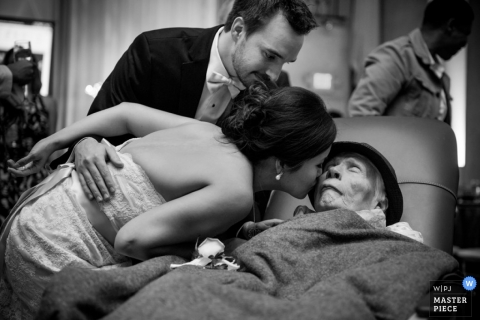 Wedding Photography in Houston | Image contains: black and white, hospital, elder woman, kiss