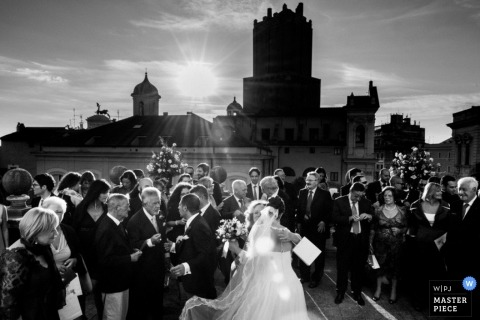 Rome Wedding Photographer | Image contains: buildings, outdoors, bride, veil, black, white, wedding guests