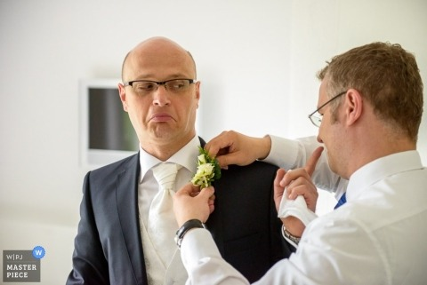 Munich Wedding Photography | Image contains:  groom, groomsmen, boutonniere