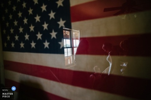 Wedding Photography in San Antonio | Image contains: reflection, getting ready, bride, preceremony, American flag