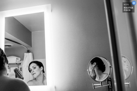 Documentary Wedding Photograph in Nova Scotia | Image contains: black, white, mirrors, reflection, getting ready