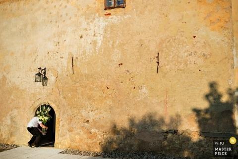 Fotógrafo de bodas en Liubliana   La imagen contiene: edificio, exterior, color, sombra, árbol, hombre, flores.