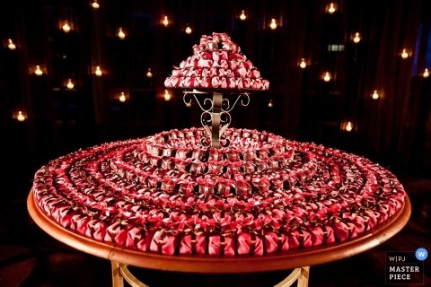Wedding Photography in Rio de Janeiro | Image contains: reception, detail, cake, red, lights