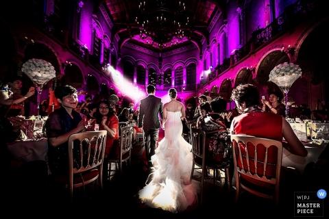 Milan Wedding Photography | Image contains: bride groom walking into reception party