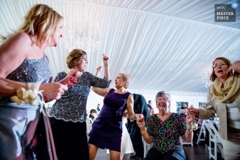 Chicago Wedding Photojournalism | Image contains: guests, tent, dancing, reception, happy, women