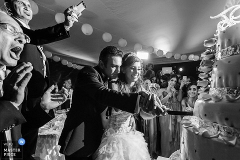 Playa del Carmen Wedding Photographer | Image contains: bride groom cutting cake black and white guests