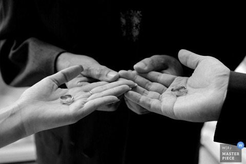 Wedding Photographer in Taipei | Image contains: detail, rings, hands, ceremony, black, white, bride, groom