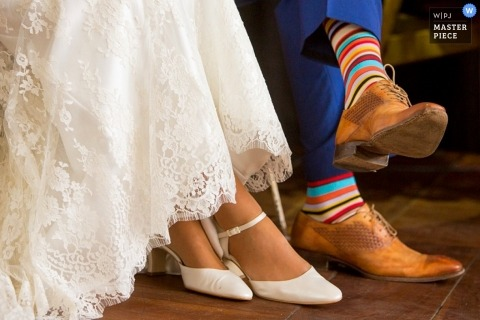 Wedding Photography in Zuid Holland | Image contains: shoes, dress, socks, tile, detail