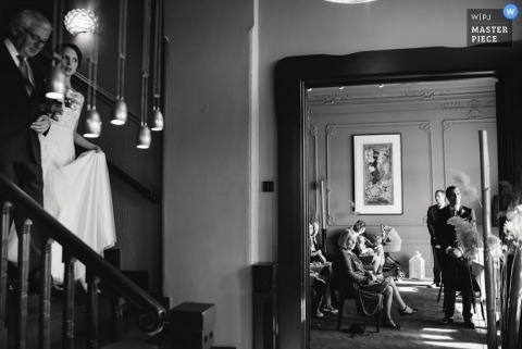 North Rhine-Westphalia Wedding Photography in Germany | Image contains: black, white, bride, staircase