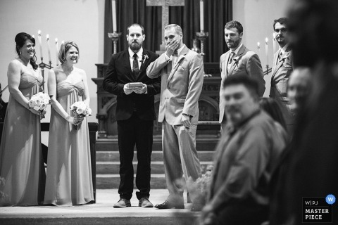 Charleston Wedding Photography | Image contains: ceremony, groom, bridemaids, shock, black, white, church