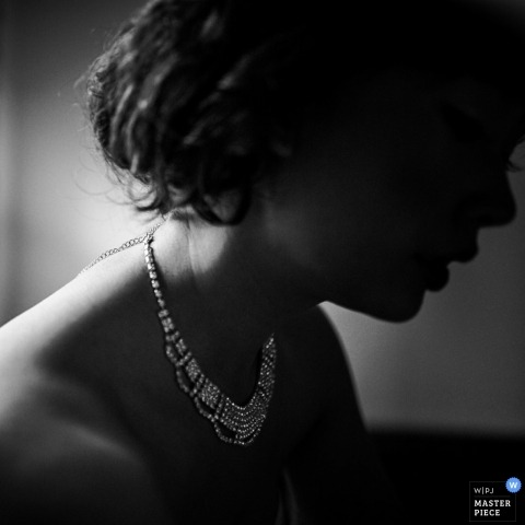 China Wedding Photographer | Image contains: bride, black and white, necklace, silhouette, lit, portrait