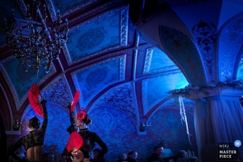 Full Color - Blue Wedding Photography | Image contains: tradtition, blue, ceiling, patterns, fans, dancers, reception