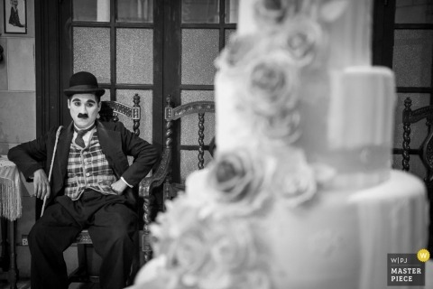 Wedding Photographer | Image contains: cake, mustache, chairs, flowers, doors, black, white