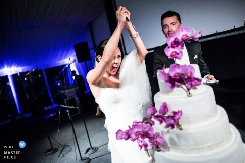 Lower Saxony cake cutting image of the bride with a knife over the flowers on the cake