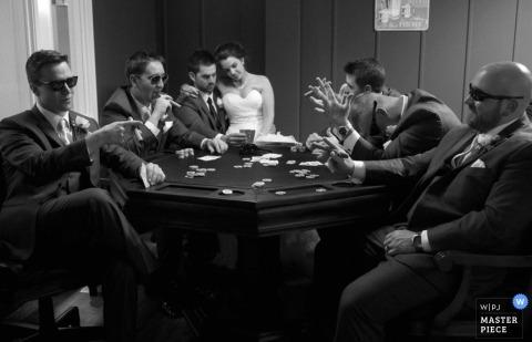 Ottawa Wedding Photo   Image contains: groomsmen, bride, groom, poker table, sunglasses, cigars, cards, black and white