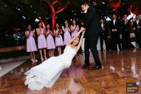 San Jose Documentary Wedding Photographer | Image contains: bride, groom, wedding reception, dancing, bridesmaid, groomsmen, outdoors, party