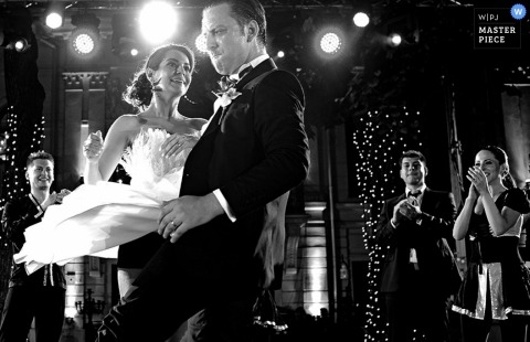Bucharest Wedding Photography | Image contains: bride, groom, black and white, dancing, wedding reception, party, wedding guests