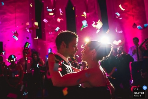 Baden-Wurttemberg Wedding Photographer | Image contains:bride, groom, confetti, wedding reception, party, dancing, wedding guests