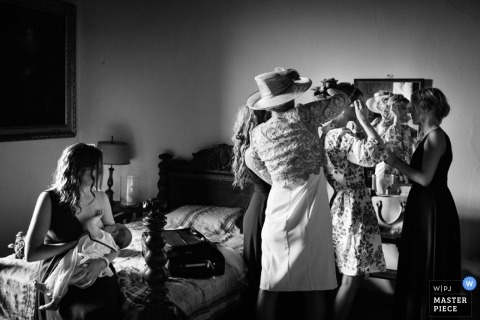 Lombardy Wedding Photography   Image contains: black and white, getting ready, bride, bridesmaids