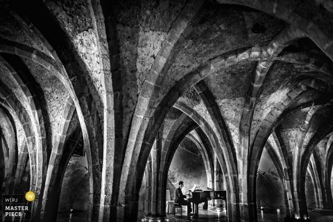 Milan Fotograf ślubny | Obraz zawiera: czarno-biały, pianista, muzyk, łuki