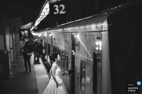 Bronx Wedding Photographer   Image contains: black and white, bride, groom, train, portrait