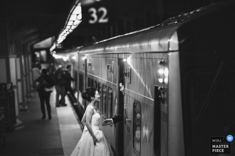 Bronx Wedding Photographer | Image contains: black and white, bride, groom, train, portrait