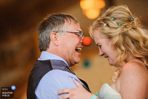 Atlantic City Documentary Wedding Photographer | Image contains: bride, father of the bride, dancing, wedding reception, party