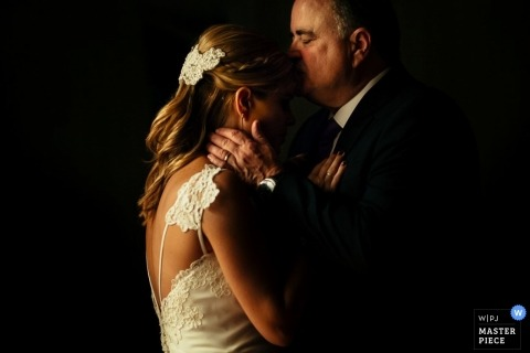 Sao Paulo Wedding Photographer   Image contains: bride, father of the bride, kiss, emotional, ceremony