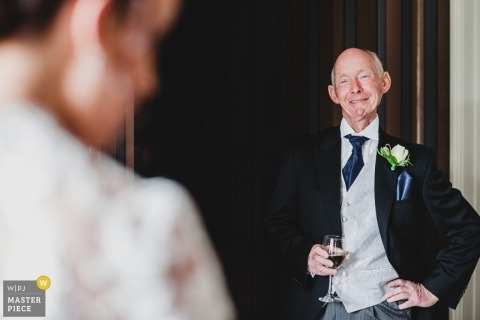 Derbyshire Wedding Reportage Photography | Image contains: ceremony, bride, father of the bride, smiles, wine, wedding gown