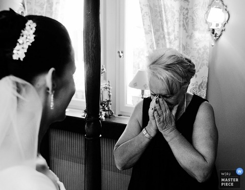 Paris Wedding Photography   Image contains: bride, mother of the bride, tears, emotional, black and white, ceremony
