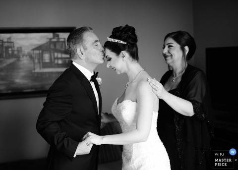 Texas Wedding Photographer | Image contains: bride, before the ceremony, mother of the bride, father of the bride, wedding gown