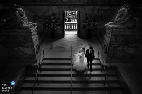 Boston Wedding Photography | Image contains: bride and groom, exiting ceremony, black and white, wedding gown, bouquet, church