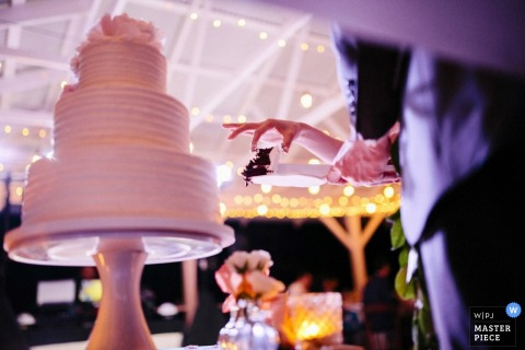 Boston wedding photographer captured this detail shot of the bride and grooms hands as they prepare to cut the cake