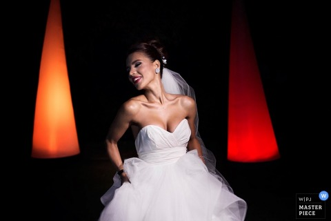 Paris bride in her dress at the reception - France wedding photojournalism