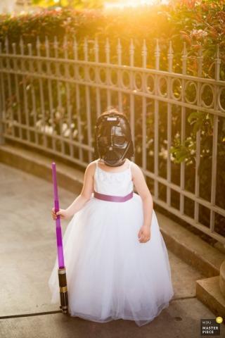 Sacramento girl dresses up as Darth Vader in a dress - California wedding photojournalism