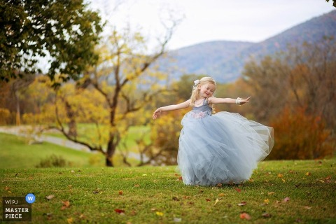 Knoxville girl dances outside in a dress - Tennessee wedding photography