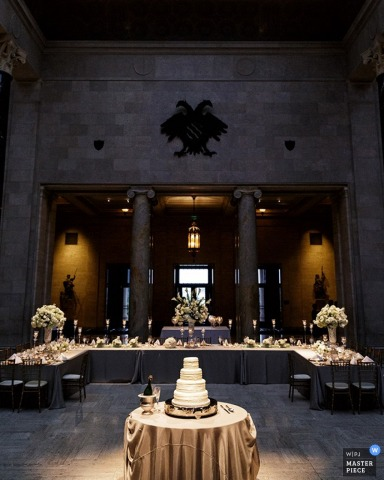 Seattle wedding photographer captured this photo of an elegant banquet table and untouched wedding cake, ready and waiting for the guests to arrive