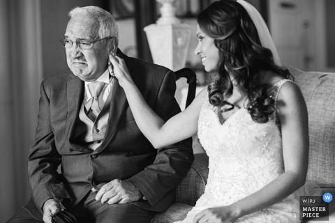 Saratoga Springs bride smiles at her father before the wedding - New York wedding photo