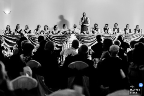 Delaware wedding reception photograph of a speech in black and white