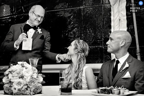 Key West wedding reception photo during speech by father | FL wedding photographer