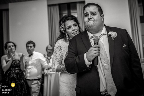 Philadelphia wedding reception photograph of an emotional man | Pennsylvania weddings
