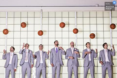 Tennessee groom and groomsmen throw up basketballs | USA wedding photo