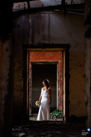 Chile wedding photograph of a bride   before the ceremony on wedding day