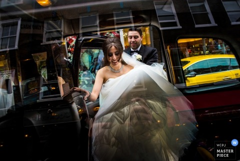 Devon bride and groom leaving their car after the ceremony | England wedding photography