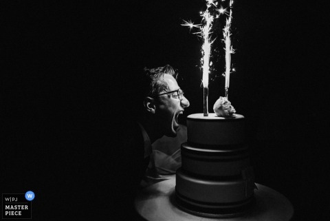 Ljubljana wedding reception photography of cake and sparklers in black and white